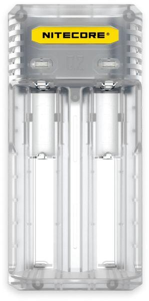 Ladegerät NITECORE Q2, 2-Schacht, für Li-Ion und Li-Ion IMR Akkus, transparent