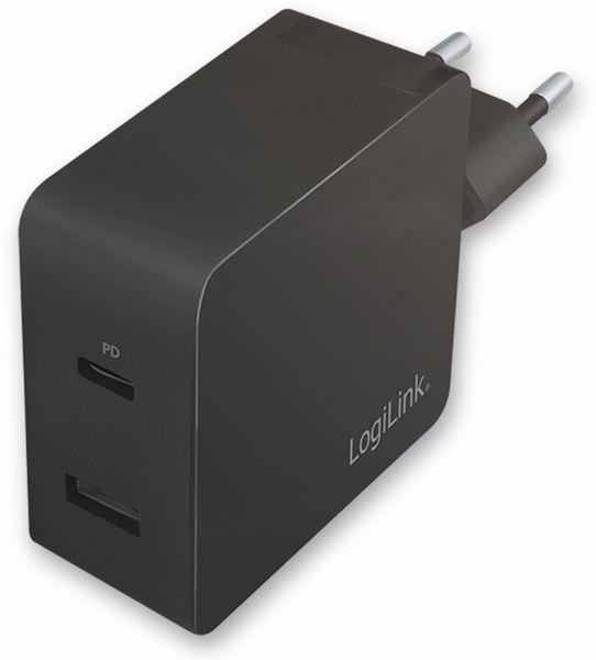 USB-Lader LOGILINK PA0212, 2-fach, 45 W, 1xUSB-A, 1xUSB-C, schwarz