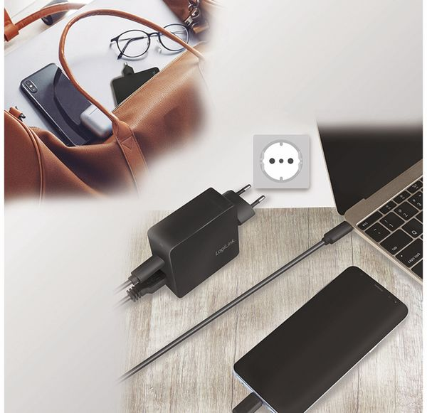USB-Lader LOGILINK PA0212, 2-fach, 45 W, 1xUSB-A, 1xUSB-C, schwarz - Produktbild 4
