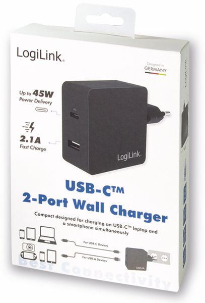 USB-Lader LOGILINK PA0212, 2-fach, 45 W, 1xUSB-A, 1xUSB-C, schwarz - Produktbild 5