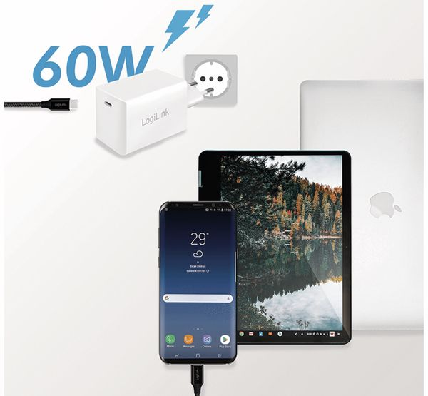 USB-Lader LOGILINK PA0229, 60 W, 1xUSB-C, GaN-Technologie, weiß - Produktbild 5