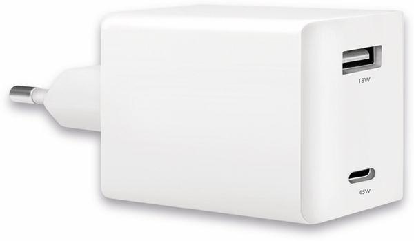 USB-Lader LOGILINK PA0230, 2-fach, 48 W, 1xUSB-A, 1xUSB-C, GaN, weiß - Produktbild 2
