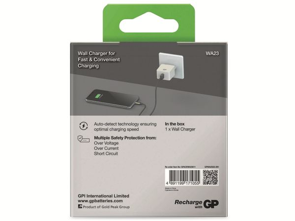 USB-Ladegerät GP Batteries WA23, 5V, 2400 mA, 1x USB - Produktbild 8