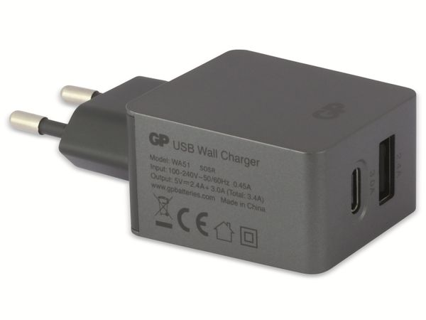 USB Ladegerät GP Batteries WA51, 5 V, 5400 mA, 2x USB - Produktbild 3
