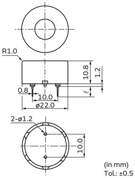 Piezo-Schallwandler, Signalgeber MURATA PKM22EPPH20R5P-BU, 22 mm - Produktbild 3