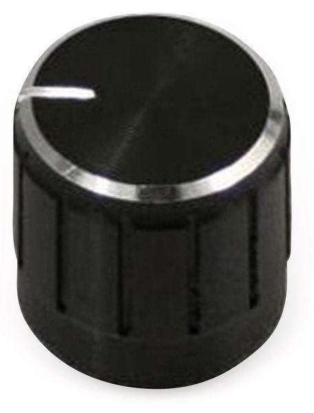 Aluminium-Drehknopf mit Zeigernase, 15x18 mm, schwarz