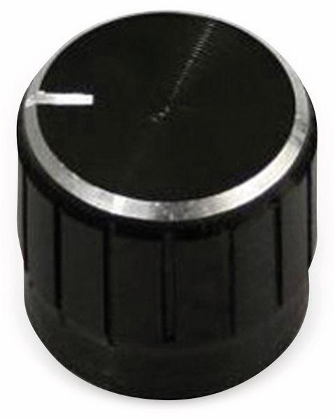 Aluminium-Drehknopf mit Zeigernase, 16x17 mm, schwarz