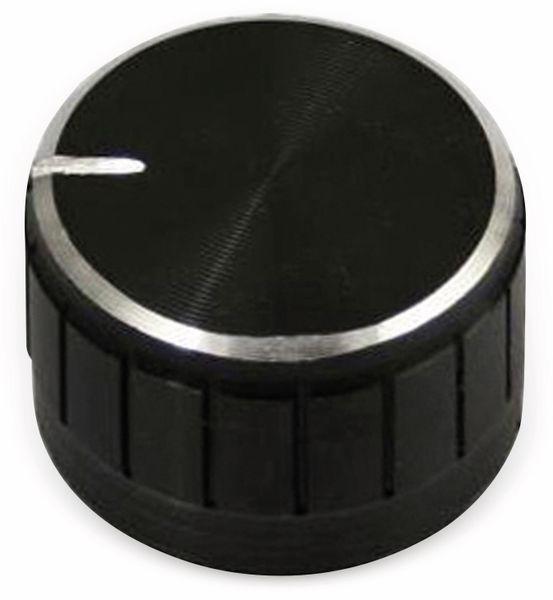 Aluminium-Drehknopf mit Zeigernase, 23x17 mm, schwarz