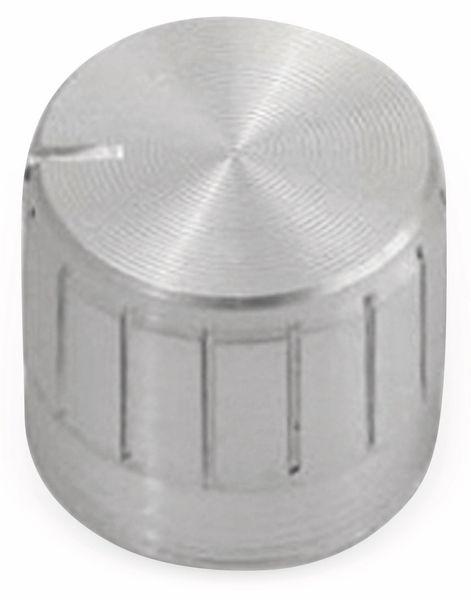 Aluminium-Drehknopf mit Zeigernase, 15x18 mm, silber