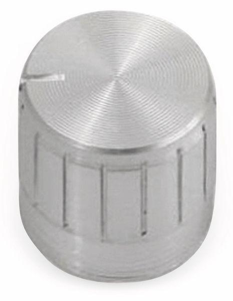 Aluminium-Drehknopf mit Zeigernase, 16x17 mm, silber