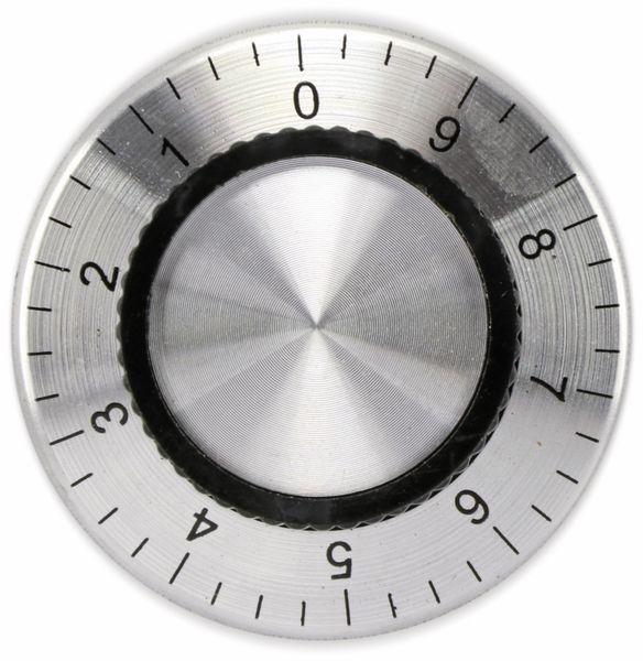 Aluminium-Drehknopf mit Skala 0...9, 38x15 mm, silber/schwarz - Produktbild 2