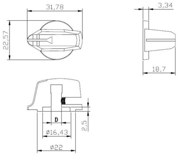 Drehknopf, Ø23x19 mm, Achse Ø6 mm, Länge 32 mm - Produktbild 2