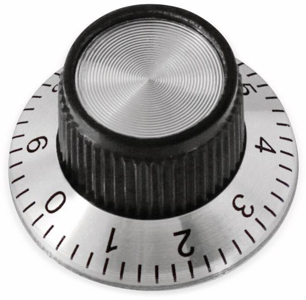 Drehknopf, 24x14 mm, Ø6 mm, mit Skala, Kunststoff Alu