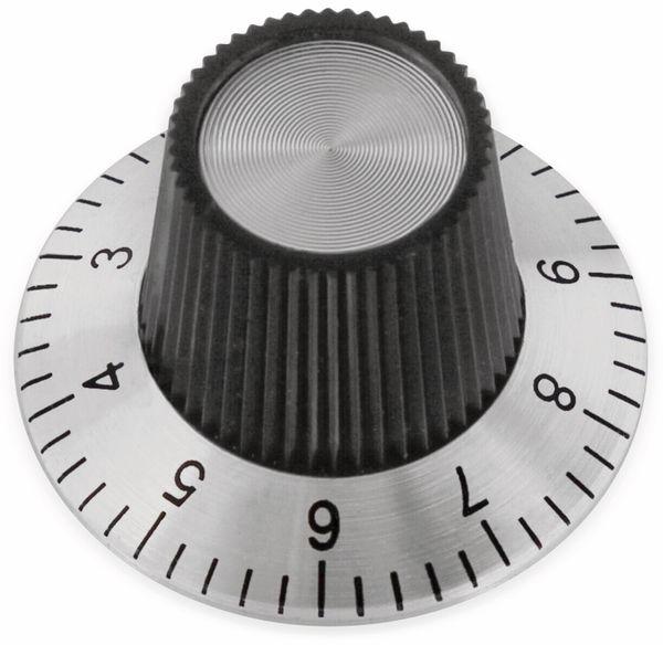Drehknopf, 29x18 mm, Ø6 mm, mit Skala, Kunststoff Alu