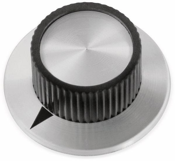Drehknopf, 38x16 mm, Ø6 mm, ohne Skala, Kunststoff Alu