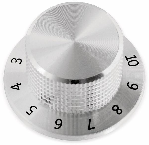 Drehknopf, 38x19 mm, Ø6 mm, mit Skala, Kunststoff Alu