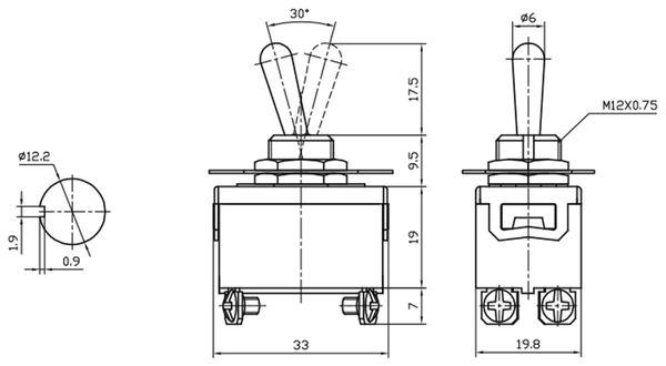 Kippschalter KN3(C)-201A, 2-polig, ON/OFF - Produktbild 3