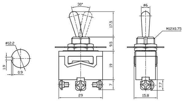 Kippschalter, KN3(C)-123A, tastend, 1-polig, (ON)/OFF/(ON) - Produktbild 3