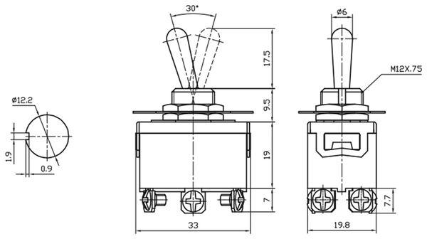 Kippschalter KN3(C)-223A, tastend, 2-polig, (ON)/OFF/(ON) - Produktbild 3