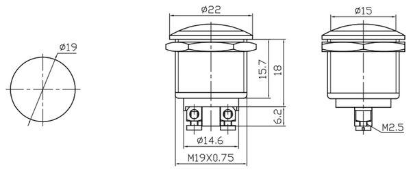 Drucktaster PBS-28B, Schließer - Produktbild 2