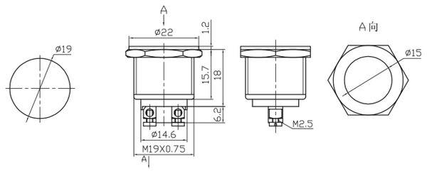 Drucktaster PBS-28B-2, Schließer - Produktbild 2