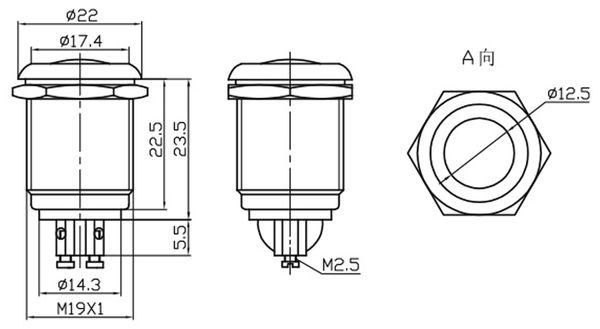 Drucktaster PBS-28B-3, Schließer - Produktbild 2
