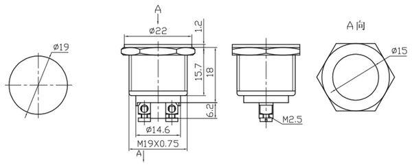 Drucktaster PBS-28C-2, Öffner - Produktbild 2