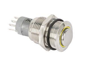 Metall-Einbaudruckschalter mit LED-Beleuchtung - Produktbild 1