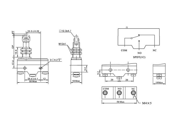 Stößelschalter PZ-15GQ22-B, gerade, 15 A/250 V~ - Produktbild 3