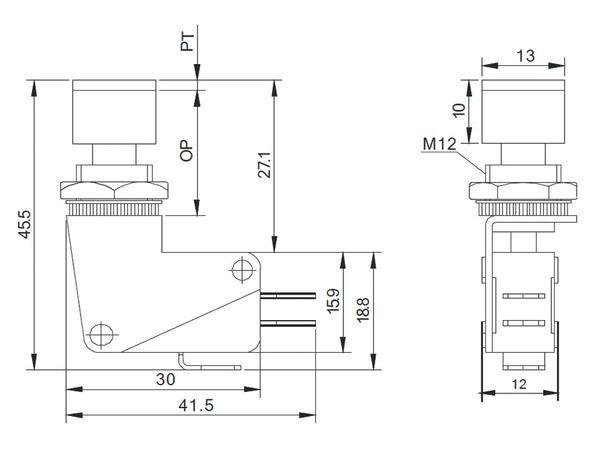 Einbau-Drucktaster DS438, 7,5 A/250 V~, rot - Produktbild 3