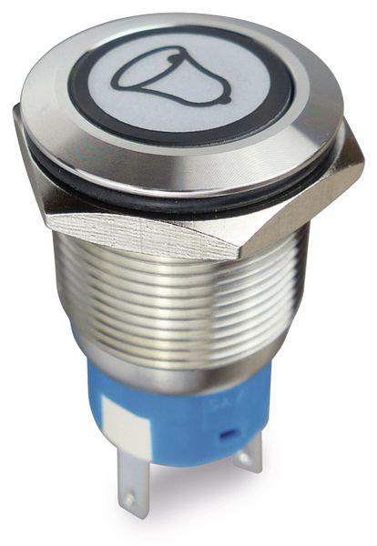 Drucktaster 1 Schließer, 1 Öffner, Metall mit Klingelsymbol und Beleuchtung