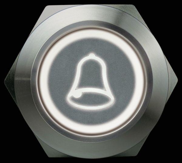 Drucktaster 1 Schließer, 1 Öffner, Metall mit Klingelsymbol und Beleuchtung - Produktbild 3