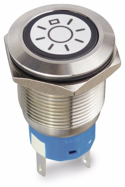 Drucktaster 1 Schließer, 1 Öffner, Metall mit Lichtsymbol und Beleuchtung