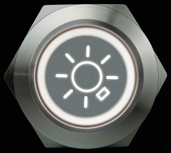 Drucktaster 1 Schließer, 1 Öffner, Metall mit Lichtsymbol und Beleuchtung - Produktbild 3