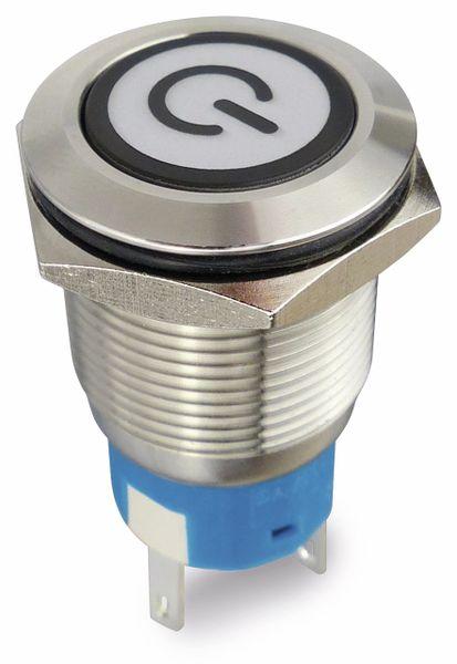 Drucktaster 1 Schließer, 1 Öffner Metall mit Ein/Aus-Symbol und Beleuchtung - Produktbild 1
