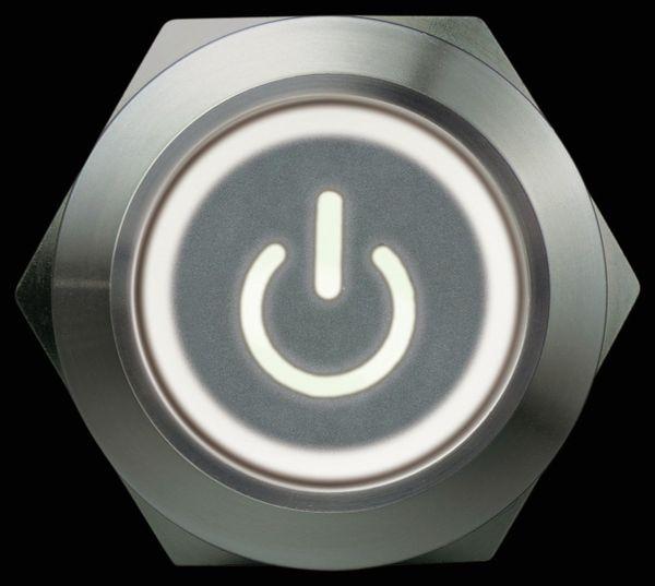 Drucktaster 1 Schließer, 1 Öffner Metall mit Ein/Aus-Symbol und Beleuchtung - Produktbild 3
