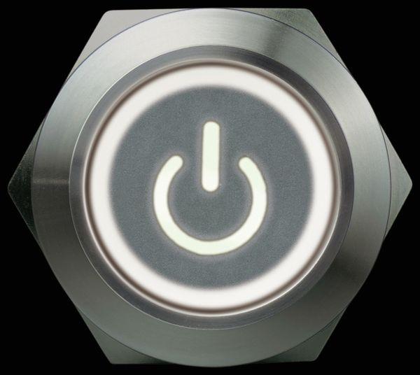 Metallschalter 1 Schließer, 1 Öffner, Ein/Aus-Symbol beleuchtet - Produktbild 3