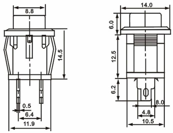 Snap-in Drucktaster mit Lötösen, 14x14 mm, rot - Produktbild 3