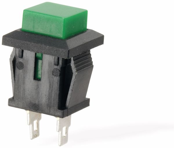 Snap-in Drucktaster mit Lötösen, 14x14 mm, grün - Produktbild 2