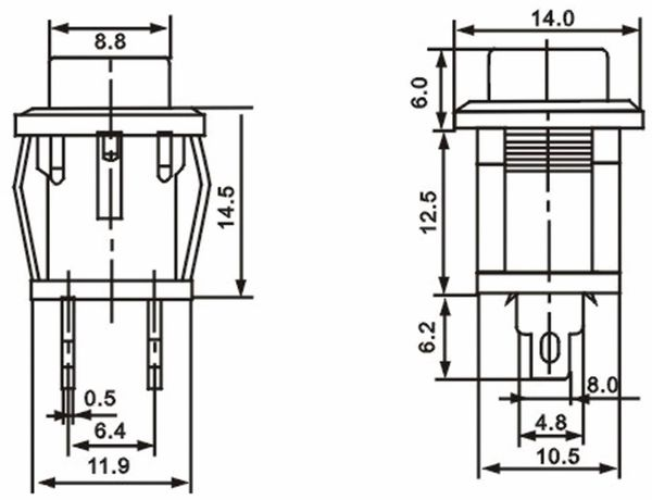Snap-in Drucktaster mit Lötösen, 14x14 mm, grün - Produktbild 3