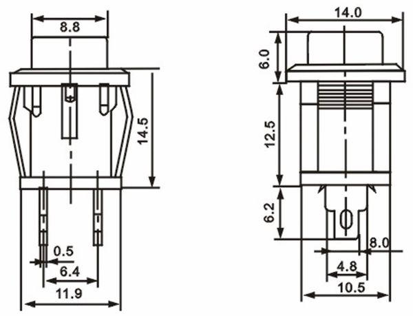 Snap-in Drucktaster mit Lötösen, 14x14 mm, gelb - Produktbild 2