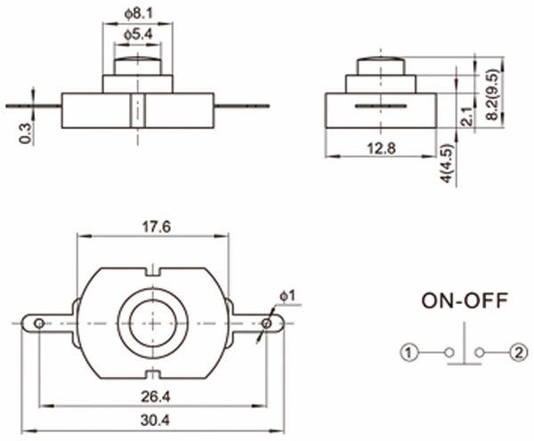 Miniatur-Druckschalter YT-1813-D, 17,6x12,8 mm, Ein/Aus - Produktbild 2