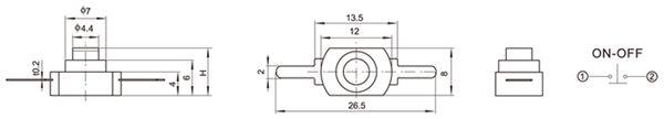 Miniatur-Druckschalter YT-1208-YD, 12x8 mm, Ein/Aus - Produktbild 2