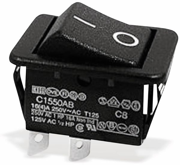 Wippenschalter 22x30mm ,2-pol., I-0