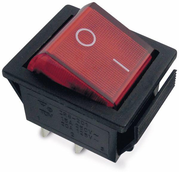 Wippenschalter 26x22mm , 2xEIN, rot beleuchtet, 15 A/ 250 V~
