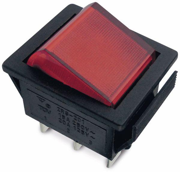Wippenschalter 26x22mm , 2xUM, rot, 15 A/ 250 V~
