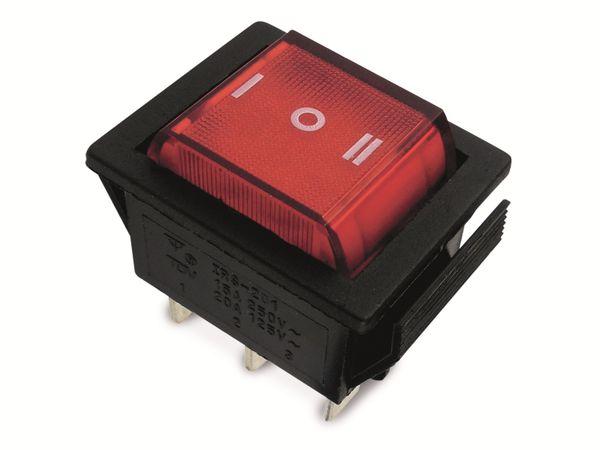 Wippenschalter 25,5x22mm , 2x I-0-I, rot beleuchtet, 15 A/250 V~