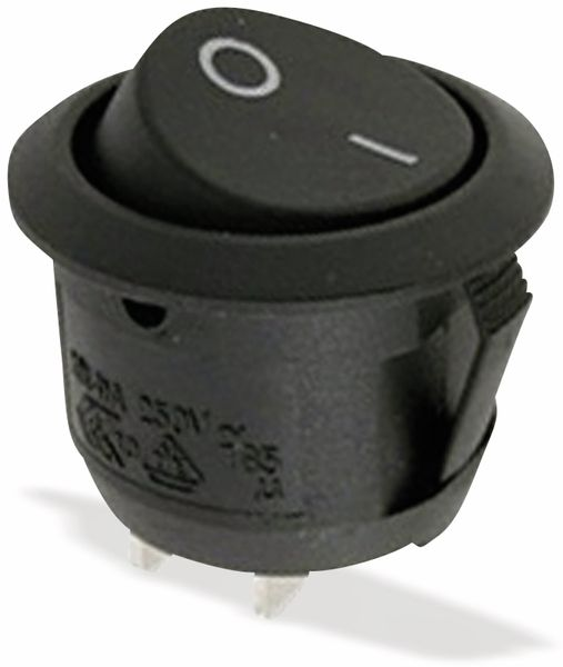 Wippenschalter 1xE/A 250V 10A sw, Ø 20,2mm