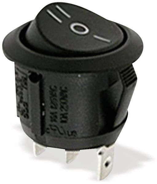 Wippenschalter E-A-E 250V 10A sw, Ø 20,2 mm