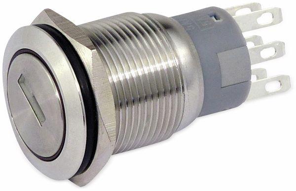 Schlüsselschalter metall 19 mm, 2 x Wechsler